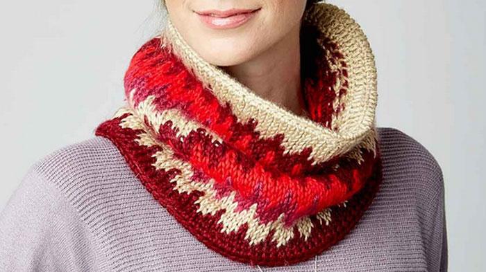 Simple Knitted Hat Pattern Free : Tutorial knitting: Tunisian fair isle stitch cowl neck - YARN OF CROCHET