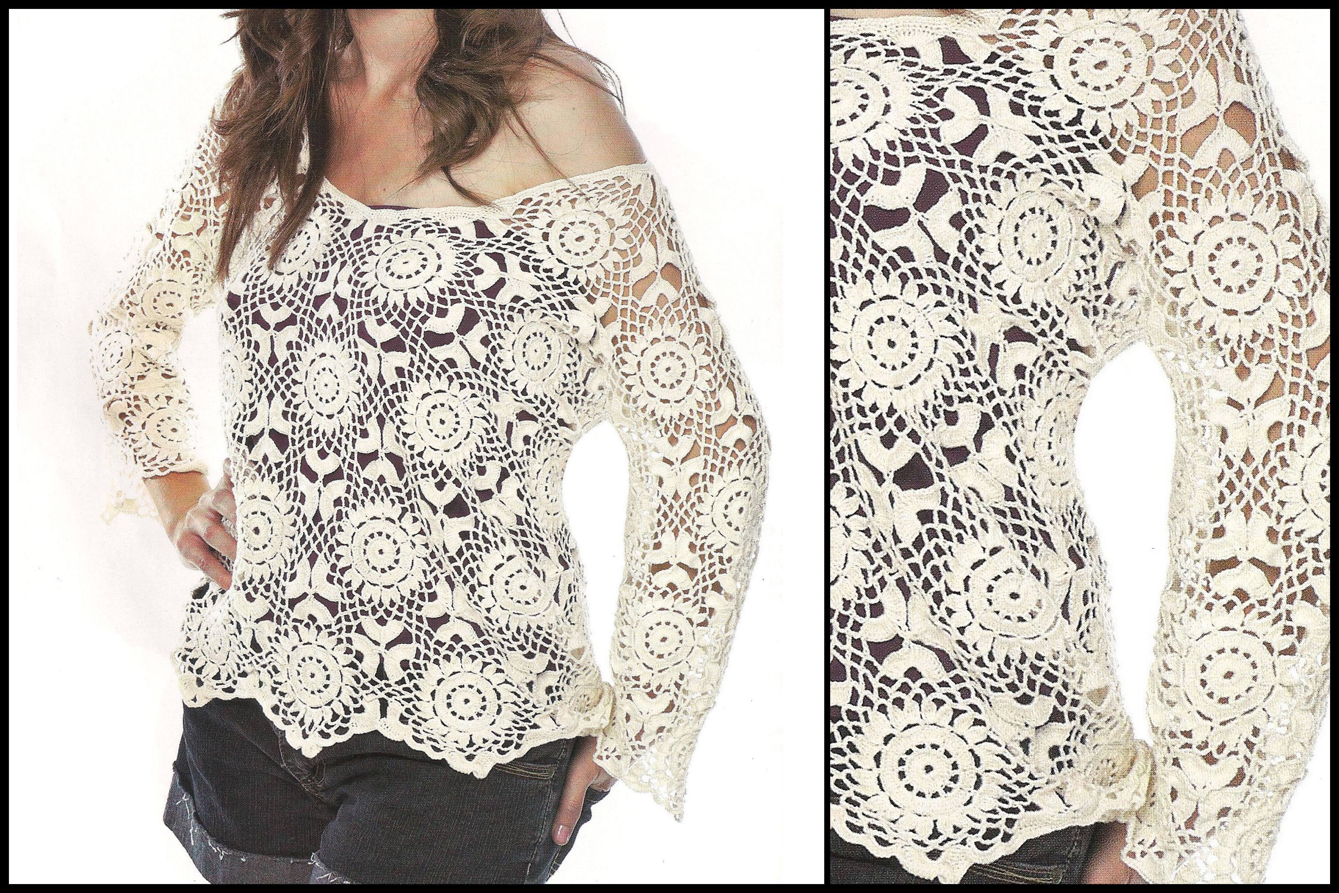 Crochet Lace Patterns Step By Step : For this beautiful crochet blouse pattern free - See the ...
